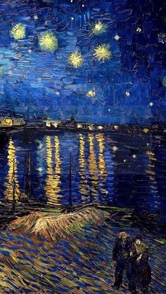Vincent van Gogh ~ Starry Night over the Rhone.one of my favorites. Far less known and appreciated than the iconic Starry Night Vincent Van Gogh, Van Gogh Wallpaper, Painting Wallpaper, Artistic Wallpaper, Wallpaper Wallpapers, Van Gogh Tapete, Starry Night Wallpaper, Starry Night Background, Van Gogh Pinturas
