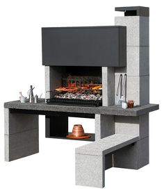 A fantastic outdoor kitchen, the Big K New Jersey Crystal Masonry Barbecue is a superb silver-grey construction that will look impressive in any setting. Grill Set, Bbq Grill, Grilling, Design Barbecue, Barbecue Area, Outdoor Spaces, Outdoor Living, Outdoor Decor, Outdoor Kitchens