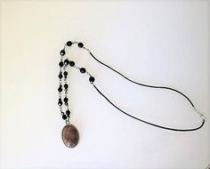 Black crystal necklace agate cabochon hematite bicone beads
