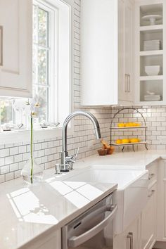 White Kitchen Farm Sink white kitchen. farmhouse sink. beautiful island. lantern pendants