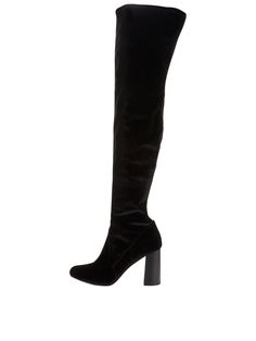 V by VeryImogen Velvet Over The Knee Boot - Black OTK boots are back on the fashion agenda for winter and this Imogen pair from V by Very ticks all the boxes.Designed with a sturdy block heel, this thigh-high style is completed with a subtly western-inspired cord design to the front panel for a texturededge. Styling Ideas Work with your roll-neck mini dresses and second-skin jeans.