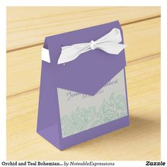 Orchid and Teal Bohemian Wedding Favor Box
