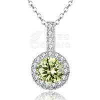 Barbara丨Big Green AAA Cubic Zircon 18K White Gold Plated Round Pendant Necklaces for Women