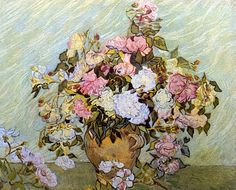 ❀ Blooming Brushwork ❀ - garden and still life flower paintings - Still Life Vase with Roses, Vincent Van Gogh.