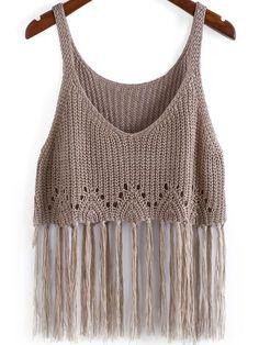 Der Neue : Boho Knit Tassel Cami Top in Kamel-Scheiße, Crochet Crop Top, Crochet Blouse, Crochet Bikini, Mode Crochet, Crochet Baby, Knit Crochet, Crochet Clothes, Diy Clothes, Knitting Patterns
