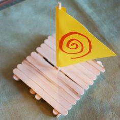 Disney Moana Boat Craft - ship made with craft sticks - Disney Moana Crafts Kids Crafts, Disney Crafts For Kids, Summer Crafts, Toddler Crafts, Craft Stick Crafts, Preschool Crafts, Projects For Kids, Craft Sticks, Moana Birthday Party
