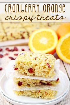 Cranberry Orange Crispy Treats - Orange juice and orange zest pairs with sweet, tart cranberries to give a new twist to the classic flavor duo in a yummy crispy treats recipe! #SuperCuteCrispyTreats