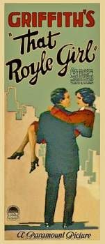 Theatrical poster for the 1925 silent film That Royle Girl.  The film is lost.