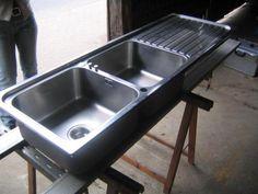 Spülbecken Waschbecken komplett aus Edelstahl. Große becken ...