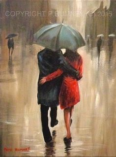 PETE RUMNEY FINE ART ORIGINAL ACRYLIC OIL PAINTING BRAVING THE RAIN TOGETHER in Art, Artists (Self-Representing), Paintings | eBay