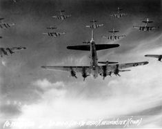 B-17 Flying Fortress bombers of USAAF 398th Bombardment Group on bombing run to Neumünster, Germany, 13 Apr 1945. (US Air Force photo)