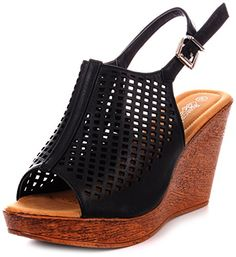 78d93b098467b Enimay Womens Casual Open Toe Wedge Heel Dress Shoe With Adjustable Heel  Strap Black Size 8     See this great product.