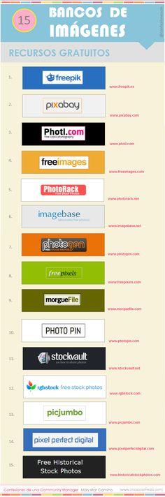 Hola: Una infografía sobre 15 sitios de descargas gratuitas de imágenes. Vía Un saludo