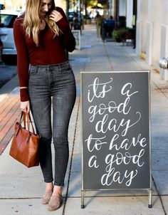 casual fall outfit with loafers | inspirational quotes | how to style a t-shirt for work