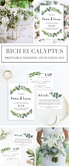 "Give the perfect first statement of your wedding day to your loved ones with this greenery wedding invitation set. The soft watercolor eucalyptus leaves make a beautiful frame for your information. The editable suite includes a wedding invitation (5"" x 7"""