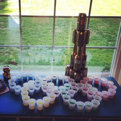"""Beer olympics Jell-O shots, champion and MVP """"you crushed it"""" trophies"""