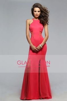 2016 Prom Dresses Scoop Mermaid Satin & Tulle Floor Length