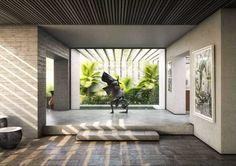 Yucatan House - Interior Rendering - RNDR Studio www. 3d Interior Design, Arch Interior, Interior And Exterior, Studio Lighting Setups, 3d Rendering Services, Exterior Rendering, Famous Architecture, Global Real Estate, 3d Visualization
