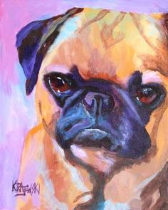 Pug Art Print of Original Acrylic Painting  8x10 by dogartstudio, $12.50