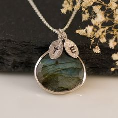 Labradorite Necklace - Personalized Necklace - Customize Initials Necklace - Sterling Silver Necklace by delezhen on Etsy https://www.etsy.com/listing/98782284/labradorite-necklace-personalized