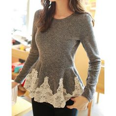 Sweet Style Round Collar Lace Splicing Waisted Corset Long Sleeve Women's T-Shirt