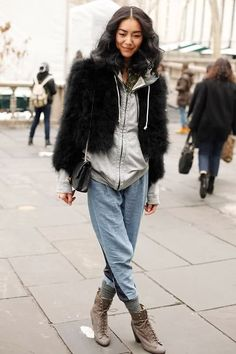 fur and hoodie layers