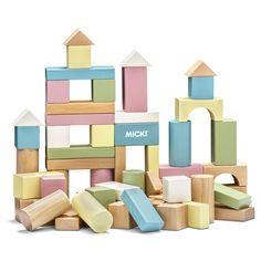 Her har du et flot sæt med 60 traklodser i fine pastelfarver fra Micki. Lad børnene bruge fantasien til at bygge og lege med de mange forskellige klodser og hjælp dem med at udvikle deres æje-hånd koordinering. De mange forskellige farver og former giver uanede muligheder som kun fantasien sætter en stopper for. <br><br>Anbefalet alder: Fra 12 måneder.<br><br>Antal klodser: 60 stk.<br><br>Materiale: Træ.<br><br>Farve: Flerfarvet.
