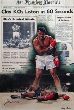 Muhammad Ali - Cassius Clay KO's Sonny Liston in 60 Seconds HS by Doug London - Limited Edition Print Mohamed Ali, Dojo, Muhammad Ali Boxing, Float Like A Butterfly, Boxing Champions, Sport Icon, Mike Tyson, Sports Figures, Sports Art