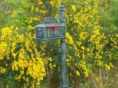 Better Box Mailbox Verde with Yellow Sunburst Flowering Decor