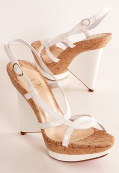 """Christian Louboutin Architectural White Patent Wedges - These are so chic and artful! They are great for a party by the pool or dressy vacation wedge. White patent strap wedges with cork and adjustable ankle strap. I wore these once and decided to sell them now. Heel height 5"""""""