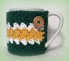 Green and gold crochet coffee cup cozy! #SicEm!