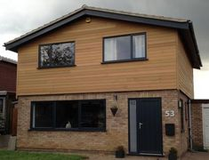 Timber Cladding Gallery, Pictures of Cedar, Larch & Thermowood Cladding Residential & Commercial Exa Cedar Cladding House, Wooden Cladding Exterior, Larch Cladding, Facade House, Home Exterior Makeover, Exterior Remodel, Cladding Design, Cladding Ideas, House Extension Design