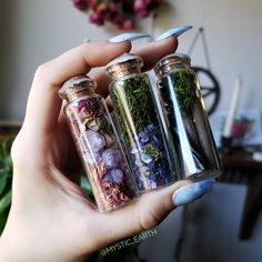 """Witch bottle / altar intention bottle from Mystic Earth """"The bottle"""". Everyone is filled with their own content that has been selected for a specific purpose. From left to right, these are """"calm down"""", Wiccan, Magick, Witchcraft Spells, Witch Bottles, Baby Witch, Witch Spell, Witch Decor, Modern Witch, Witch Aesthetic"""