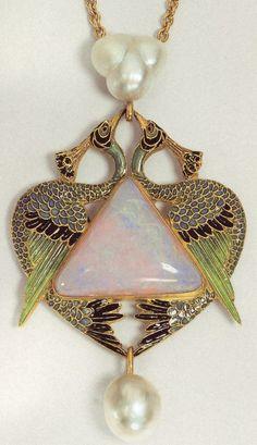 Lalique, Art Nouveau Artists-Peacock Opal and enamel Bijoux Art Nouveau, Art Nouveau Jewelry, Jewelry Art, Vintage Jewelry, Jewelry Accessories, Fine Jewelry, Jewelry Design, Modern Jewelry, Jewelry Sketch