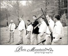 Paris Mountain Photography groomsmen wedding group photos  fun poses Spring Lake Events Rockmart Ga guns rifles hunting