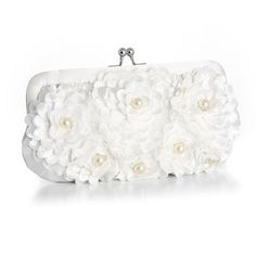 White Floral Wedding Purse with Pearl Accents