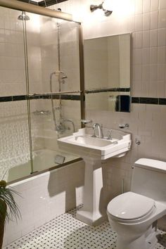 Exciting Tips for Choosing Small Bathroom Accessories: Cool Small Bathroom Ideas Remodeling With Frameless Mirror And Sink Toilet Tank ~ workdon.com Bathroom Design Inspiration