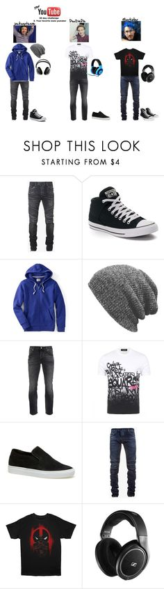"""""""YouTuber challenge 2- jacksepticeye, PewDiePie, Markiplier"""" by ajlutz04 ❤ liked on Polyvore featuring Balmain, Converse, Lands' End, Beautiful People, Nudie Jeans Co., Dsquared2, Lacoste, Razer, Marvel and Sennheiser"""