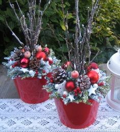 """""""dressing up"""" those lighted twig branches! Outside Christmas Decorations, Christmas Planters, Outdoor Christmas, Christmas Projects, Christmas Themes, Christmas Holidays, Christmas Wreaths, Christmas Ornaments, Christmas Flower Arrangements"""