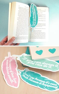 Lesezeichen basteln Federn & Zitate  Printables *** Choose from 3 FREE printable quote bookmarks that will inspire you each time you open your book. Free Printable Quotes, Printable Art, Free Printables, Free Printable Bookmarks, Printable Book Marks, Creative Bookmarks, Diy Bookmarks, Bookmark Ideas, Crochet Bookmarks