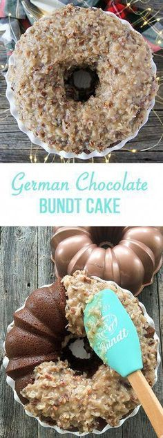 Make this German Chocolate Bundt Cake! With a gooey coconut, pecan and caramel frosting that complements this subtle chocolate flavoured cake. Chocolate Bundt Cake, Chocolate Flavors, Chocolate Food, German Chocolate Bars, German Chocolate Cupcakes, Banana Bundt Cake, Nutella Cake, Chocolate Tarts, Köstliche Desserts