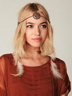 Dove Headpiece #freepeople Hippie boho Middle part headband chain