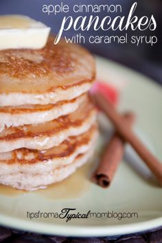 Fresh Apple Cinnamon Pancakes with Homemade Caramel Syrup from Tips From a Typical Mom. Made with Krusteaz pancake mix.