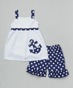 Love this White & Navy Dot Anchor Dress & Shorts - Infant, Toddler & Girls on #zulily! #zulilyfinds
