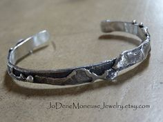 Mens chunky fused sterling silver cuff by JoDeneMoneuseJewelry