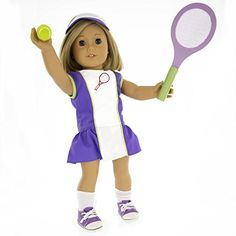 Tennis Outfit for American Girl Dolls Dress Along Dolly: 6 Pc (Dress, Hat, Racket, Ball, Socks and Shoes) *** Check out this great product.