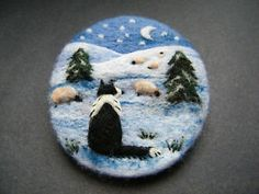 Handmade needle felted brooch ' Gwen and the Snowy Night' by Tracey Dunn | eBay