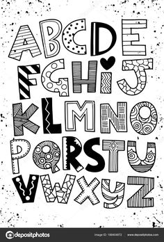 Alphabet Drawing, Hand Lettering Alphabet, Doodle Lettering, Creative Lettering, Doodle Alphabet, Abc Alphabet, Cute Fonts Alphabet, Lettering Styles Alphabet, Drawing Letters