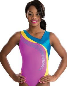 Artistic Gabby Douglas gymnastics leotard features vibrant colors with this gypsy wave design. Includes matching scrunchie.