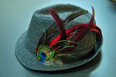 Feather Straw Fedora Hat Size Large by cinnamonwillis on Etsy, $45.00